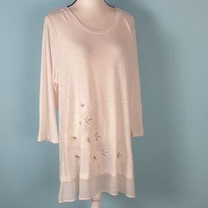 Logo xl blouse applique beaded embroidered cream